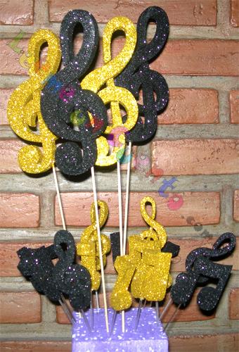 Adornos para tortas muy especiales, notas musicales brillantes doradas